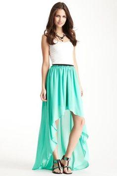 Mint Hi-Lo Maxi Skirt.
