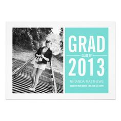 #Bold Blue Design Photo #Graduation #Announcements