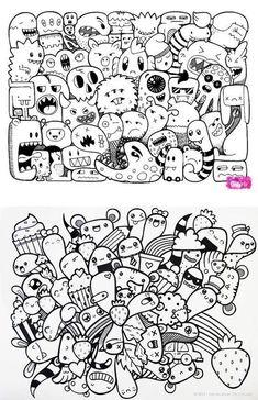 Cute Doodle Art, Doodle Art Designs, Doodle Art Drawing, Doodle Sketch, Cute Art, Drawing Ideas, Doodle Monster, Monster Drawing, Kawaii Doodles