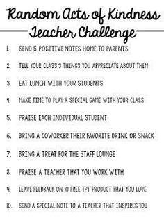 Random Acts of Kindness TEACHER CHALLENGE