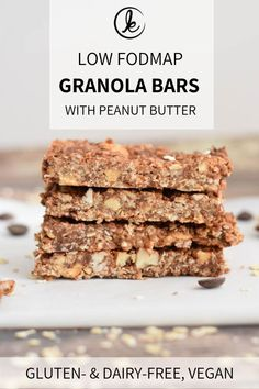 Low FODMAP granola bars with peanut butter. A yummy and healthy low FODMAP snack to take with you on the go. Also gluten-free, lactose-free and vegan.