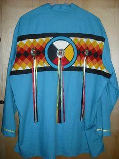 Ribbon Shirt                                                                                                                                                     More Native American Patterns, Native American Clothing, Native American Regalia, Native American Design, Native American Beading, Native American Fashion, Native Fashion, American Art, Band Shirt