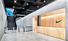 Nike Ups Its Street Cred in NYC With a New Office by Studios Architecture, – İndustrial Office Office Entrance, Office Lobby, Entrance Design, Gym Interior, Lobby Interior, Office Interior Design, Lobby Design, Studios Architecture, Architecture Office
