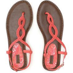 Braided T-Strap Sandal ($17) found on Polyvore/\... AHHH ORANGE!!!! <333333