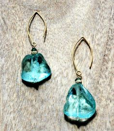 Aqua Marine Blue Sea Glass Earrings with Raw Green Onyx Gemstones and14k Gold Plated Ear Wires
