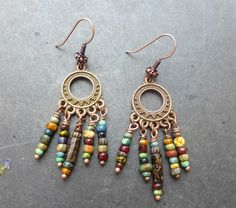 Earthy small dangle Czech glass and copper earrings. Bohemian jewelry.