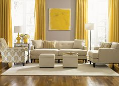 Eye For Design: Decorating With The Grey and Yellow Color Combination for family room and kitchen