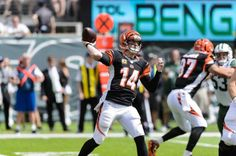 Cincinnati Bengals quarterback Andy Dalton (14)  makes a pass during the first half of a game against the New York Jets at MetLife Stadium on Sept. 11, 2016.