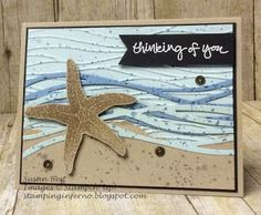 handmade greeting card from Stamping Inferno ... realistic starfish on a shore scene of Swirly Bird lines ... Stampin' Up!