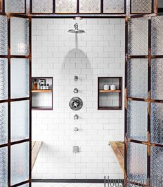 textured glass shower doors Shower fixtures, from the Astaire collection by Newport Brass, are arranged in a line. Shower Niche, Glass Shower, Shower Doors, Shower Enclosure, Shower Bathroom, 50s Bathroom, Bathroom Niche, Bathroom Vinyl, Spa Shower