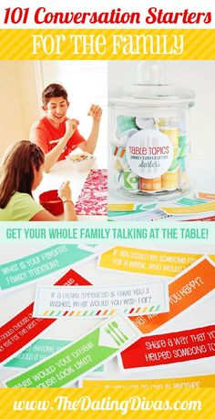 Topics: Conversation Starters for Families 101 different prompts for family conversations at the dinner table! I love this idea! 101 different prompts for family conversations at the dinner table! I love this idea! Family Guy, Family Games, Family Activities, Family Life, Indoor Activities, Summer Activities, Strong Family, Family Room, Family Fun Night