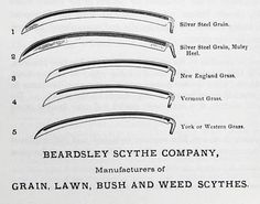 """Differentiation of the scythe: 'For Every Type Of Grass Or Grain'. 1876. (Asher and Adams, Pictural Album of American Industry, Philadelphia, 1876)"" Giedion shows the increasing refinement of hand tools — human-machine prostheses — proceeding alongside early attempts at replacing human labour with machines."