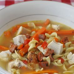 Chorizo Rotisserie Chicken Noodle Soup - my favorite chicken noodle soup recipe using leftover rotisserie chicken ans a little smokey chorizo sausage. Rock Recipes, Healthy Recipes, Leftover Rotisserie Chicken, Chicken Noodle Soup, Best Chicken Recipes, Everyday Food, Soup And Salad, Soups And Stews, Food Photo