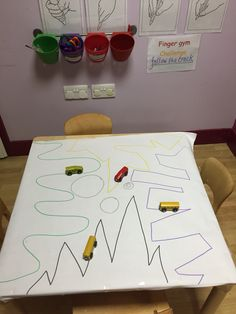 Follow the zig zag track, with small world  transport.  Kelly J Activities For 1 Year Olds, Eyfs Activities, Train Activities, Motor Activities, Kindergarten Activities, Preschool Activities, Preschool Transitions, Preschool Writing, Transport Topics