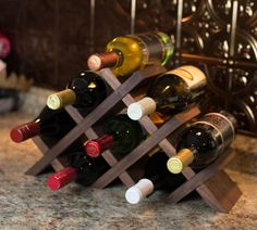 Tabletop Wine Rack - Butterfly Style in Solid Wood with Oil Finish - Walnut, Oak, Cherry