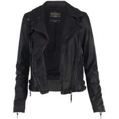 Herero Leather Biker Jacket ($495) ❤ liked on Polyvore featuring outerwear, jackets, tops, coats, moto jacket, collared leather jacket, rider jacket, genuine leather jackets and leather biker jacket