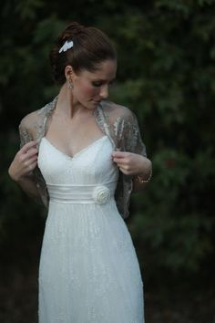 Bridal shrug, Tapue color metallic fabric. rustic wedding accessory, (4-options- shrug, shawl, twisted shawl and a scarf) ready to ship. $45.00, via Etsy.