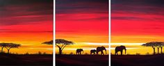 African Sunset Painting--I pinned this to show Lyn, who owns my personal rendition of an African sunset. :-)