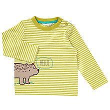 Buy John Lewis Baby Hello Bear T-Shirt, Green Online at johnlewis.com