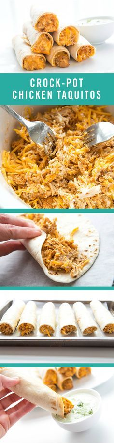 Crock-Pot Chicken Taquitos couldn't be more easy to make. You just need a slow-cooker and five ingredients: cream cheese, taco seasoning, chicken, cheese, and tortillas.