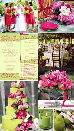 Fuschia/Hot Pink Green Wedding