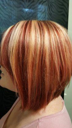 very red, light blonde highlights