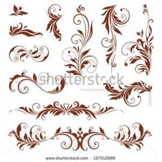 Vector swirl ornate motifs Elements can be ungrouped for easy editing