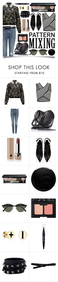 """Pattern Mix Master"" by ittie-kittie on Polyvore featuring Giambattista Valli, rag & bone, Rebecca Minkoff, Marc Jacobs, Valentino, Bobbi Brown Cosmetics, Nails Inc., Ray-Ban, NARS Cosmetics and Sydney Evan"