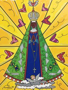Com cores fortes, sua marca, o artista contou que foi a primeira vez que pintou uma imagem da santa. Ele mandou um recado aos devotos; assista. Angel's Feather, Bible Stories For Kids, Holy Mary, Holy Family, Psychedelic Art, Folk Art, Catholic, Coloring Pages, Clip Art