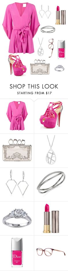 """Barbie pink date look"" by pale-readhead ❤ liked on Polyvore featuring C/MEO COLLECTIVE, Christian Louboutin, Alexander McQueen, Effy Jewelry, Ross-Simons, Nambé, Modern Bride, Urban Decay, Christian Dior and Oliver Peoples"