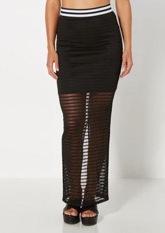Mesh Striped Athletic Maxi Skirt | Maxi | rue21