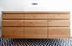 Bombora Custom Furniture create freestanding and floating custom timber vanities, made to order. We ship Australia wide including Melbourne, Sydney and Brisbane. Timber Bathroom Vanities, Corner Bathroom Vanity, Black Vanity Bathroom, Timber Vanity, Bathroom Vanity Makeover, Bathroom Vanity Cabinets, Bathroom Ideas, Bathroom Stuff, Bathroom Interior