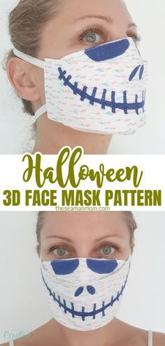 Get ready for Halloween and turn the need for a protective face mask into art with this fun Halloween 3D face mask pattern! Embroidered with a Skellington smile, roomy and comfortable to wear, this 3D face mask is a must this Halloween season! #easypeasycreativeideas #sewing #sewingpattern #sewingtutorials #facemaskpattern #3Dfacemaskpattern #halloweenmask #halloweenfacemask #halloween #halloweenmasks