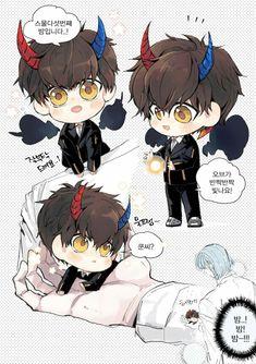 Khun & Baam Art by - god_khunbam Anime Guys, Manga Anime, Anime Art, Diabolik, Manhwa, Fanart, Anime Angel, No Name, Ship Art