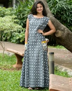 Gray Printed Long Kurti with Contrast Patch Pocket