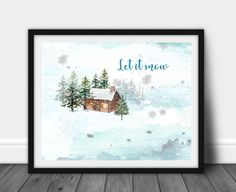 Let it Snow winter scene downloadable PDF Christmas decor | Etsy
