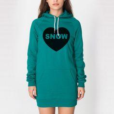Heart Snow Hoodie Dress - Evergreen - Snowboarding Makes Me Happy
