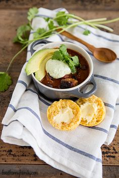 Poblano Black Bean Chili with Cilantro Avocado Cream #recipe via FoodforMyFamily.com
