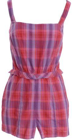 3b8ed5d5a5 1950 s Elisabeth Stewart Plaid Vintage Swimsuit Romper or Playsuit
