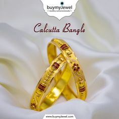 Love of beauty is taste. Select from our splendid range of Calcutta Bangles. Indian Jewelry Sets, India Jewelry, Temple Jewellery, Jewelry Shop, Jewelry Stores, Fashion Jewelry, Women's Fashion, Gold Bangles Design, Gold Jewellery Design