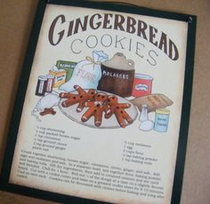 Wood GINGERBREAD COOKIE Recipe Sign Retro Primitive Vintage Country KITCHEN Wall Decor via Etsy