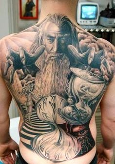 Wizard Tattoo on back in black and grey