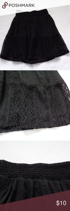 Half lace black skirt Super cute black skirt with lacy trim on bottom. Size XS. NWOT, never been worn. Joe B Skirts