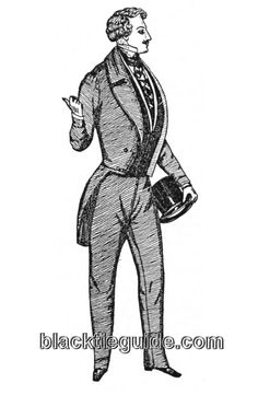 1850 British evening dress. Note the tailcoat's M collar, sleeve cuffs and short tails.