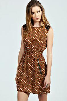 Vera Lace Shoulder Zip pocket Skater Dress at boohoo.com