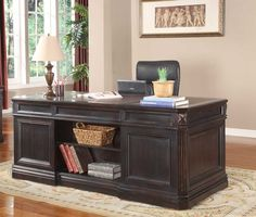 office desk - love open back - found at www.homelement.com - grand manor palazzo double pedestal executive desk