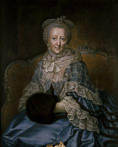 Portrait de laprincesse Philippine Charlotte de Prusse, duchesse de Brunswick-Wolfenbüttel, avec un manchon, artiste anonyme du XVIIIe siècle