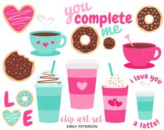 SALE Coffee Donuts Valentine's Day Cafe  by EmilyPetersonStudio