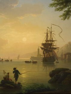 Detail from Claude-Joseph Vernet's Landscape at Sunset (1773)