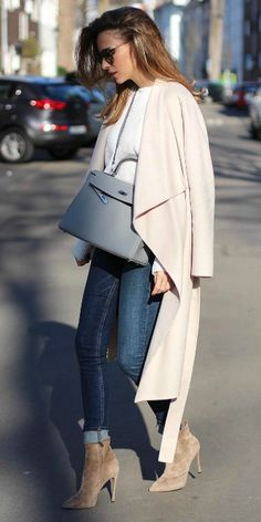 "Alexandra Lapp + gorgeous oversized wrap coat + rolled denim jeans + light blue sweater + suede spike-heeled boots   Jeans: Rag & Bone, Shoes"" Gianvito Rossi. Spring Style."